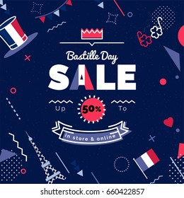Bastille day  Sale vector illustration. Sale poster with geometric shapes. Vector background in retro 80s, 90s memphis style.