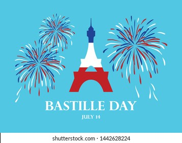 Bastille Day vector. Eiffel Tower with fireworks vector. Eiffel Tower in colors of French Flag vector. Bastille Day Poster, July 14. French national holiday. Important day