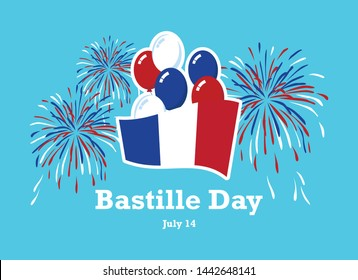 Bastille Day vector. French flag with balloons vector. French flag with fireworks vector. Bastille Day Poster, July 14. French national holiday. Important day