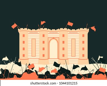 Bastille fortress. The battle for the castle. Medieval battlefield. Flags, swords, spears and arrows. Vector illustration