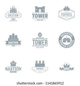 Bastion logo set. Simple set of 9 bastion vector logo for web isolated on white background