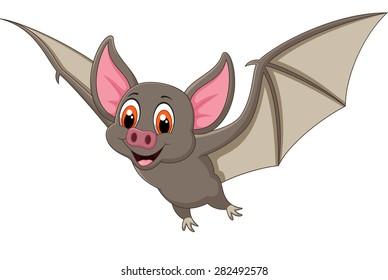 Bat cartoon flying. vector illustration