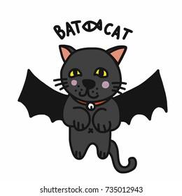 Bat cat cartoon vector illustration