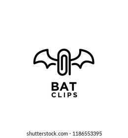 bat clips logo idea icon design vector