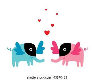 bat elephant couple love