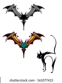 Bat emblem in two color ways and stylized cat.