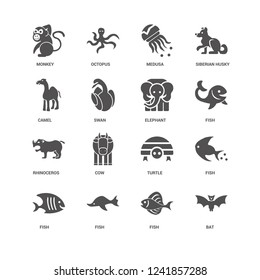 Bat, Fish, Elephant, Monkey, Camel, Rhinoceros, Medusa icon 16 set EPS 10 vector format. Icons optimized for both large and small resolutions.