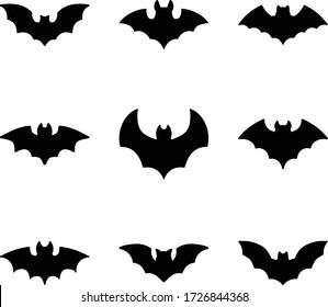 Bat Flat Glyph Icon Set