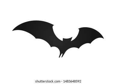 Bat in flight, wide wings, black silhouette of bat on white background, vector illustration. Halloween and vampire simple Logo and symbol template.