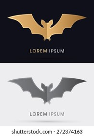 Bat fly, designed using gold and black colors, sign, logo, symbol, icon, graphic, vector.