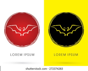 Bat fly , on cycle grunge brush background, sign, logo, symbol, icon, graphic, vector.