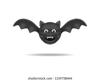 bat is flying. Animal cartoon isolated concept.
