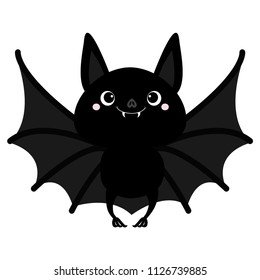 Bat flying. Cute cartoon baby character with big open wing, ears, legs. Happy Halloween. Black silhouette. Forest animal. Flat design. White background. Isolated. Greeting card. Vector illustration