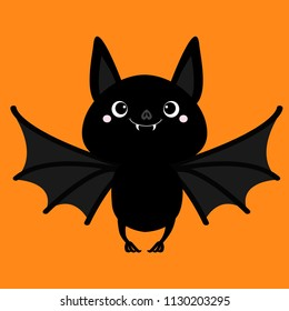 Bat flying. Cute cartoon baby character with big open wing, ears, legs. Happy Halloween. Black silhouette. Forest animal. Flat design. Orange background. Isolated. Greeting card. Vector illustration