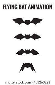 Bat flying cycle for animation. | Vector Illustration |
