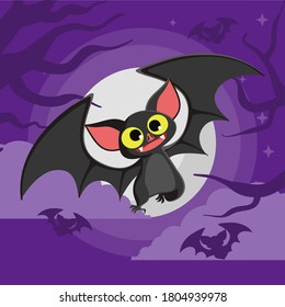 Bat. Flying bat halloween background. Bats Bat cartoon vector illustration. European Bat Night. Halloween moon. Bats. Scary october night moon. Flying bats. Flittermouse night creatures. Bats.