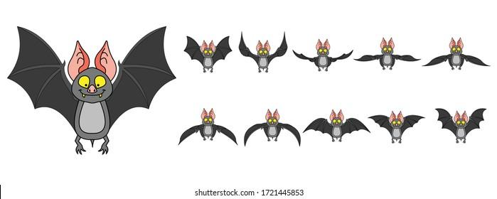 Illustration vectorielle de dessin animé de séquence de mouvement de vol de chauve-souris
