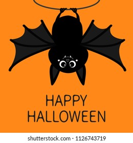 Bat hanging on rope. Happy Halloween. Cute cartoon baby character with big open wing, ears, legs. Black silhouette. Forest animal. Flat design. Orange background. Isolated. Greeting card. Vector