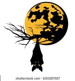 bat hanging on tree branch against full moon - halloween theme vector design