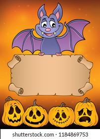 Bat holding parchment image 3 - eps10 vector illustration.