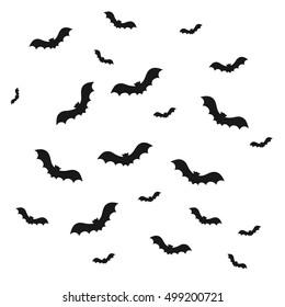 Bat icon on white background. Symbol of Halloween. A flock of bats isolated go up silhouette. Seamless pattern for booklet, banner, website. Vector illustration.