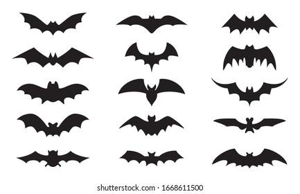 Bat icon set isolated on white background. Black bats silhouettes