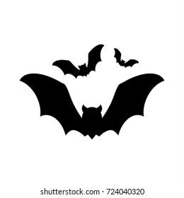 bat icon silhouettes group, Halloween sign and symbols, vector illustration