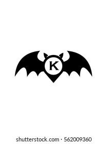 Bat Letter K Logo Vector