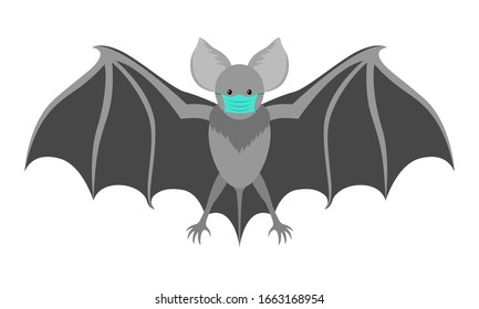 Bat with a medical mask. Flittermouse considered to be eventual cause of coronavirus COVID-19 infection. Isolated vector illustration in flat style.