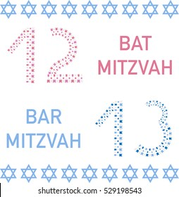 Bat mitzvah and bar mitzvah. 12 and 13 years old. Vector illustration.