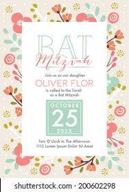 Bat Mitzvah Invitation Card in Vector