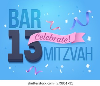 Bat Mitzvah Invitation Card.Greeting card for a jewish boy Bar Mitzvah in its 13th anniversary.