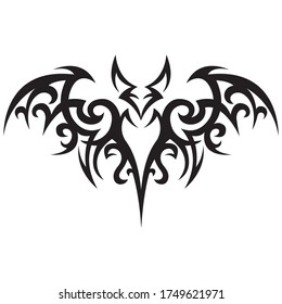 Bat painted in black with ornate lines. Celtic style. Design can be used for logo, tattoo, badge, print on a t-shirt or clothes, emblem, mascot, album, badge, paper. Vector isolated illustration