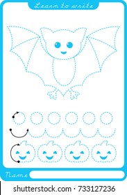 Bat. Preschool worksheet for practicing fine motor skills - tracing dashed lines. Tracing Worksheet.  Illustration and vector outline - A4 paper ready to print.