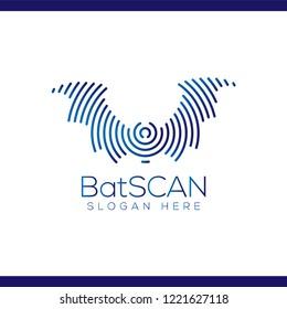 bat Scan Technology Logo vector Element. Animal Technology Logo Template