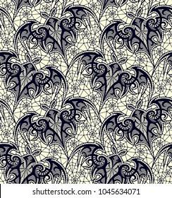 Bat. Seamless pattern. Black Lace  vector pattern.