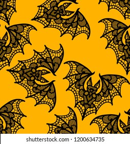Bat. Seamless pattern. Lace  vector pattern.