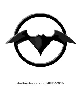 Bat sign in circle. Batman emblem in circle. Creepy bat black vector icon on white background. Car or weapon logo with bat full body and open wing. Batman icon concept. Halloween badge. Superhero sign