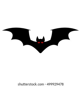 Bat silhouette on a white background. Vector illustration for Halloween.