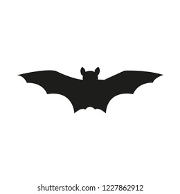 Bat silhouette. Printable template. Bat icon isolated on white. Vector.