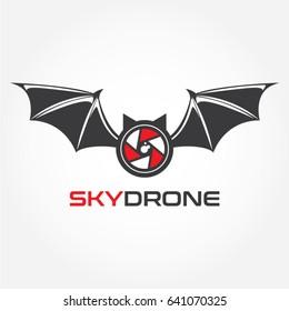 Bat Sky Drone Logo Design Symbol