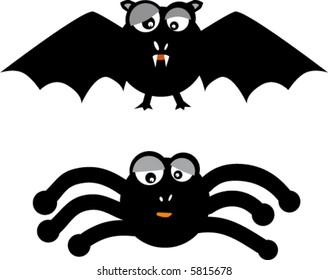bat and spider in happy halloween