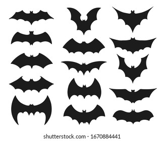 Bat symbol set. Collection of black silhouettes of mysterious flying nocturnal animals with flapping wings isolated on white background. Halloween decoration. Flat bat vector illustration.