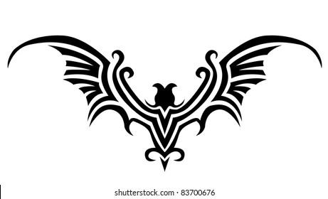 tribal vector bat tattoo images stock photos vectors 10 off rh shutterstock com Bat Tattoo Flash Bats and Moon Tattoos