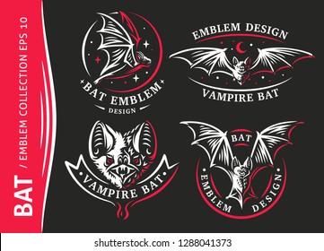 Bat vampire collection - vector illustration, logo, emblem, print design.