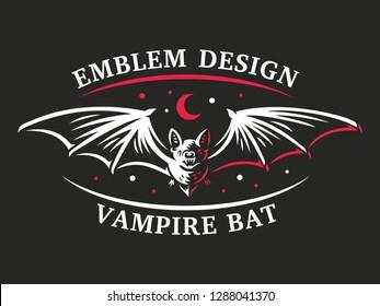 Bat vampire flying - vector illustration, logo, emblem, print design.