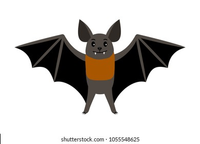 Bat. Vampire bat vector illustration scary halloween flying icon isolated on white background