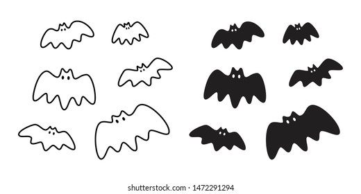 bat vector icon logo Halloween symbol dracula Vampire ghost character cartoon doodle illustration design