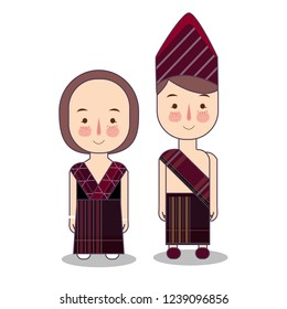 Batak couple traditional national clothes of Indonesia. Set of cartoon characters in traditional costume. Cute people. flat illustrations.