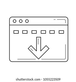 Batch download vector line icon isolated on white background. Batch download line icon for infographic, website or app.